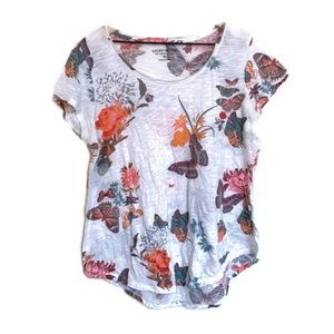 Lucky Brand Women's White Floral Butterfly T-Shirt